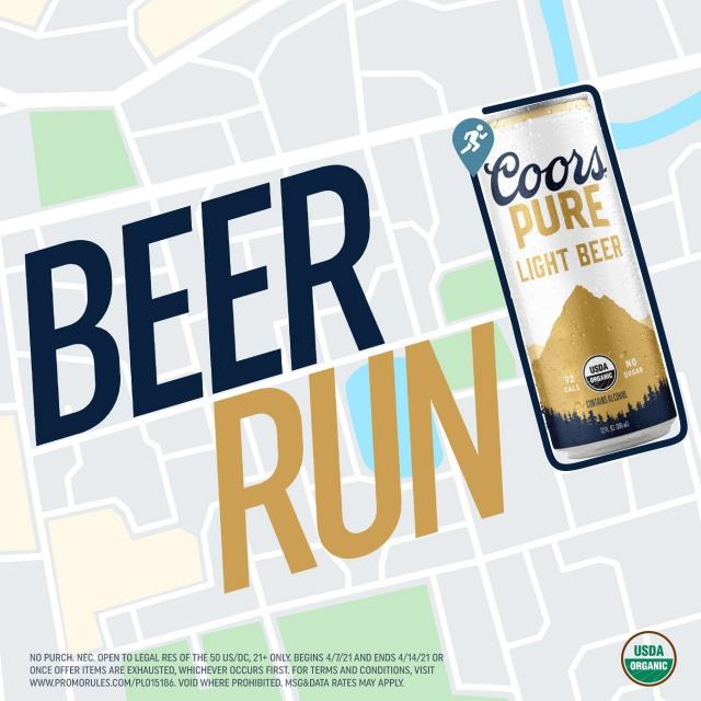 For 4/7, Nat'l Beer & #WorldHealthDay, run the #BeerRun & get Coors Pure.  Screenshot your beer-can-shaped run & send to beerrun@coorspure.com.  Swipe to see what we did in New York.