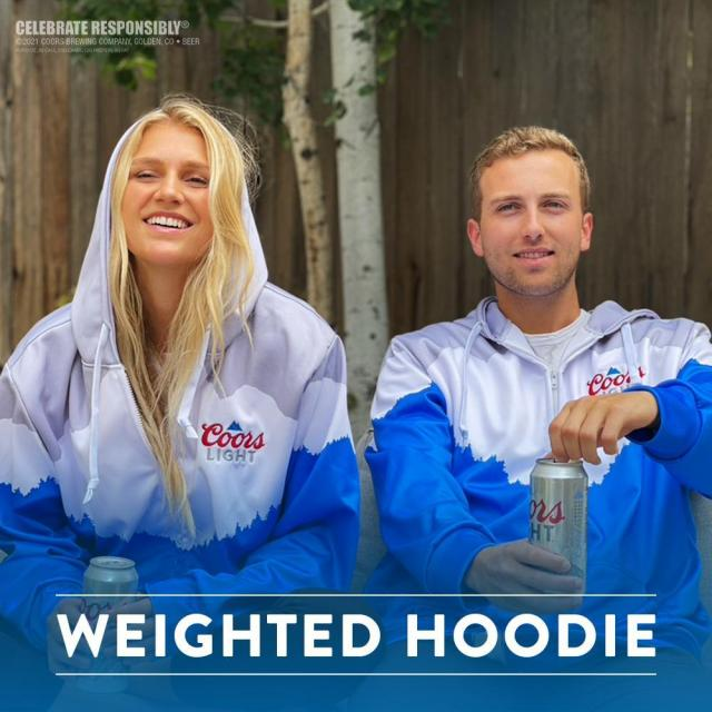 You can still get our new weighted hoodie. The one that makes watching the game a little more chill. With science. And fabric. And the Coors Light logo. Anyway, get yours at our link in bio.
