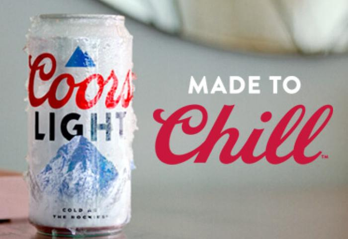 Coors Light can with Made to Chill slogan