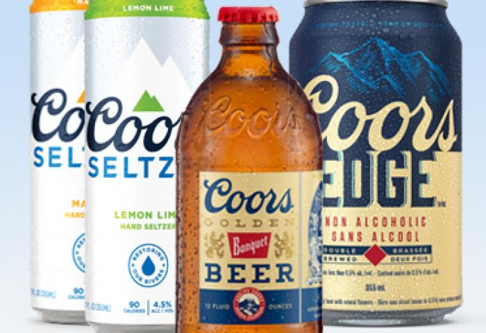 coors seltzer, coors banquet and coors edge product images